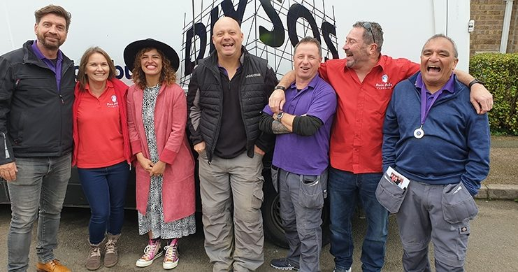 Juan and Yvonne Muntaner with the DIY SOS team for the Big Reveal in Corby 17 Oct 2019